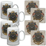 Navy Badge Mug And Coaster Set-Military Republic