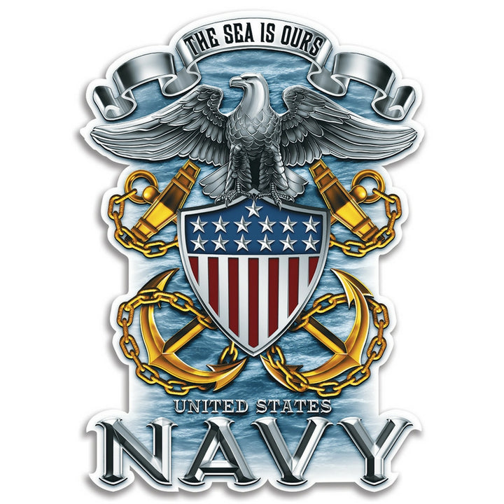 Navy Chrome Badge Decal-Military Republic