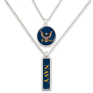 Navy Double Down Necklace-Military Republic