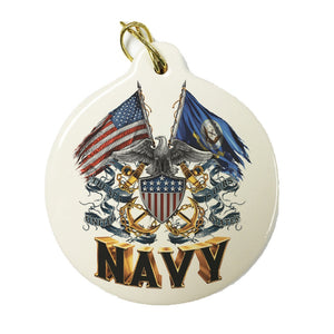 Navy Double Flag Christmas Ornament-Military Republic