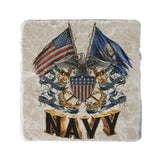 Navy Double Flag Coaster-Military Republic