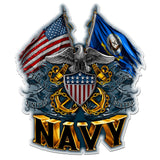 Navy Double Flag Eagle Shield Decal-Military Republic