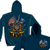 Navy Double Flag Hoodie-Military Republic