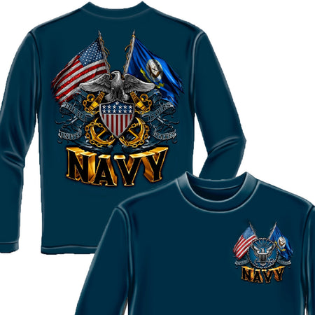 Navy Double Flag Long Sleeve Shirt-Military Republic