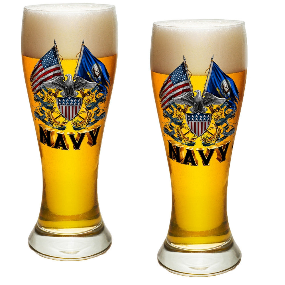 Navy Double Flag Pilsner Glass Set-Military Republic