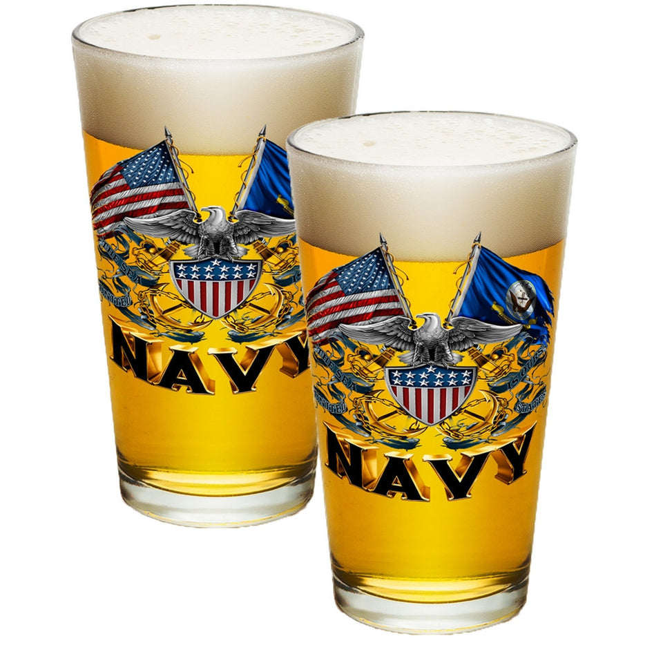 Navy Double Flag Pint Glasses-Military Republic