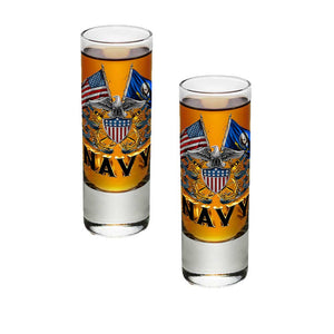Navy Double Flag Shot Glasses-Military Republic