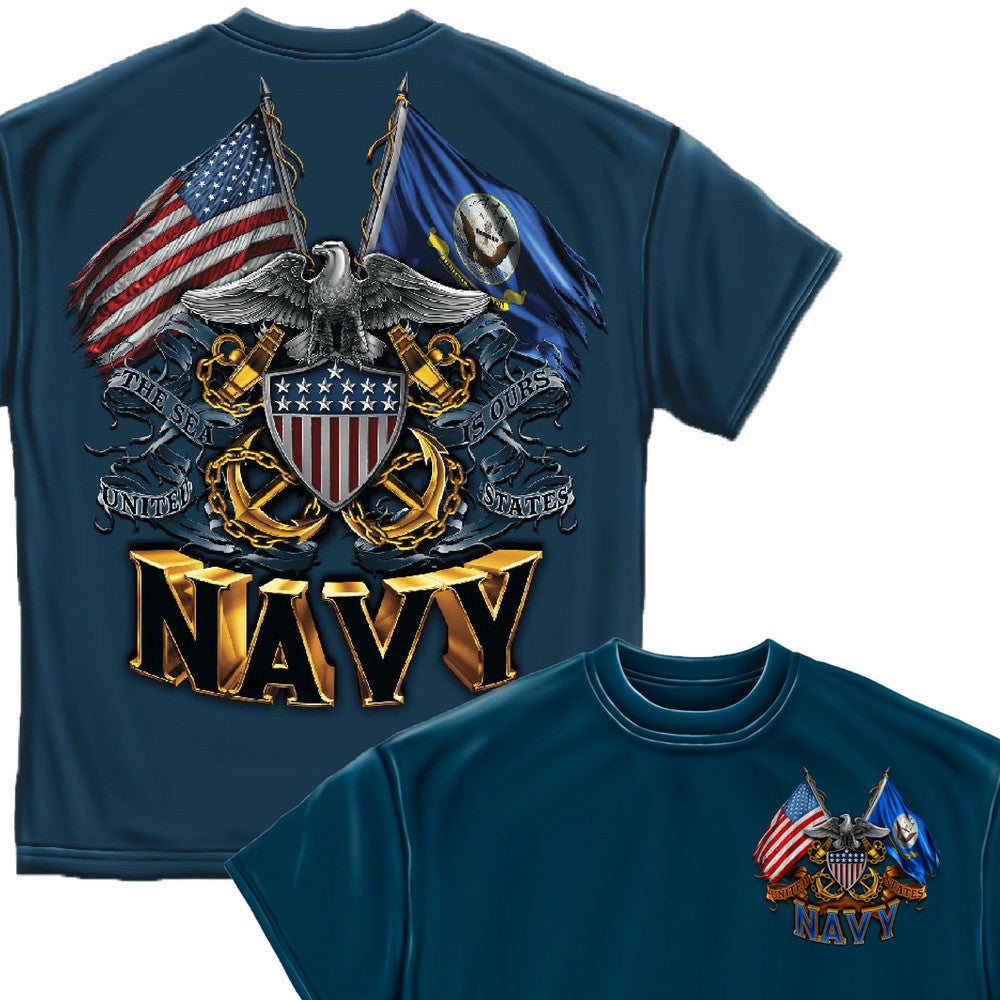 Navy Double Flag T-Shirt-Military Republic