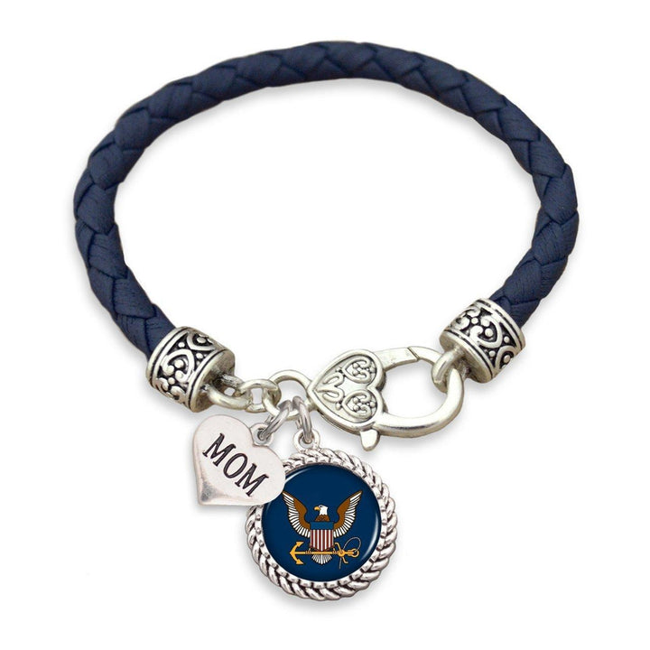 Navy Family Relationship Leather Bracelet-Military Republic