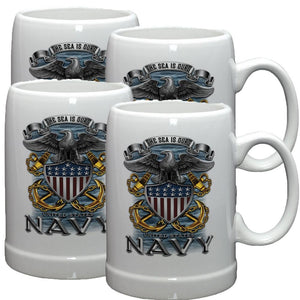 Navy The Sea Is Ours Stoneware Mug Set-Military Republic