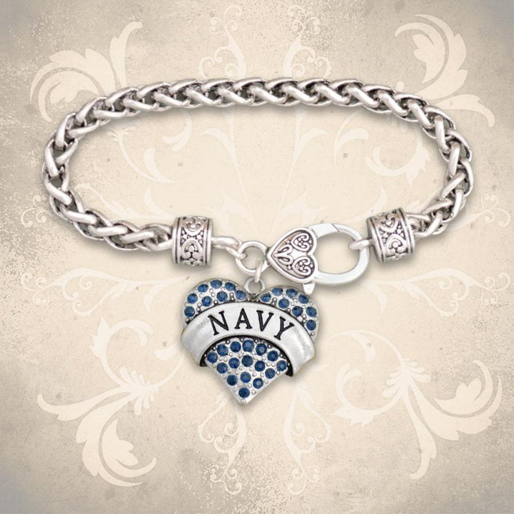 Navy Heart Braided Clasp Bracelet-Military Republic