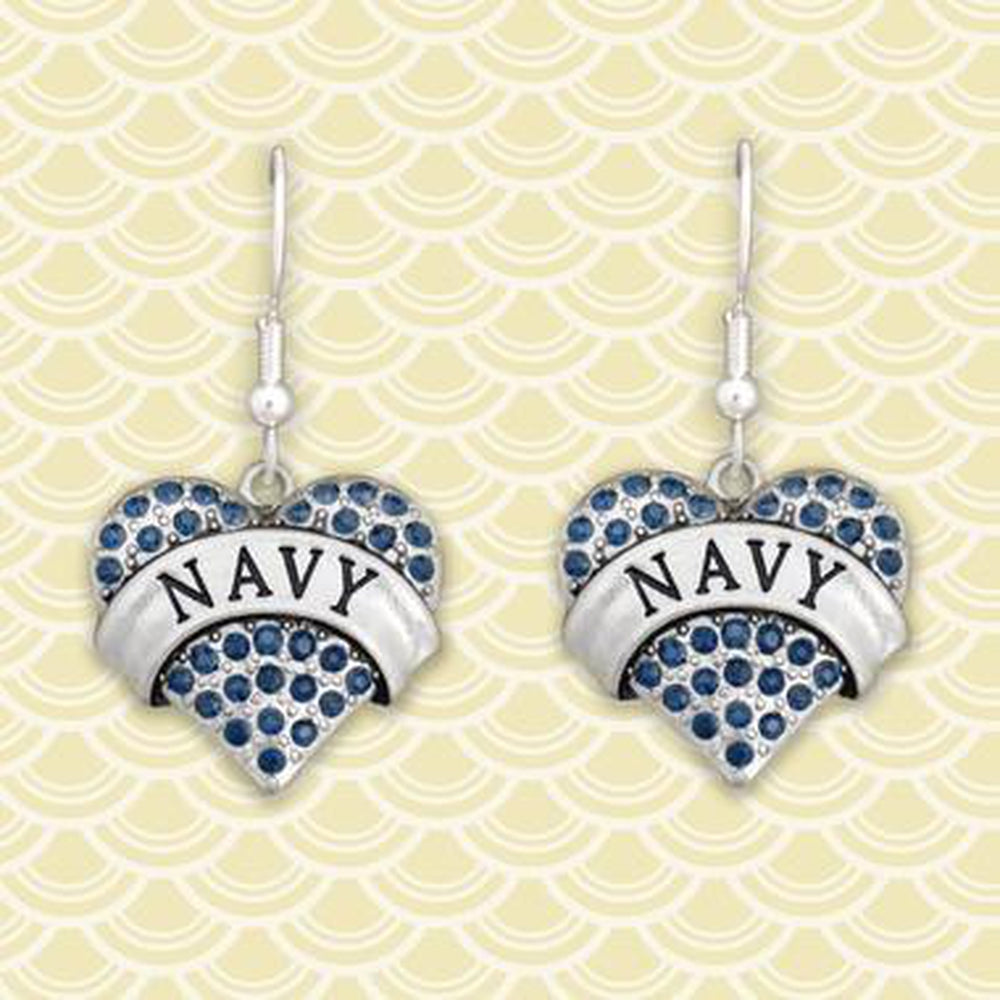 Navy Heart Earrings-Military Republic