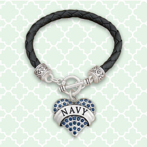 Navy Heart Leather Bracelet-Military Republic