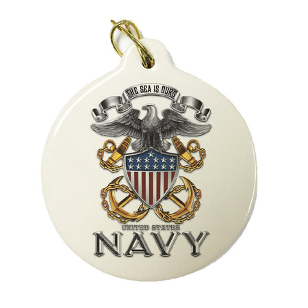 Navy The Sea Is Ours Christmas Ornament-Military Republic