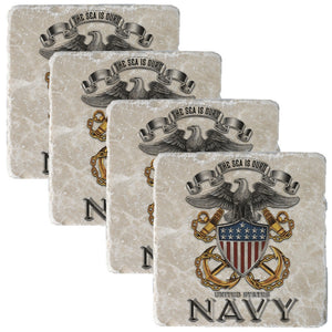 Navy The Sea Is Ours Coaster-Military Republic