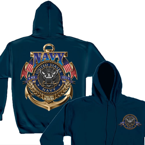 Navy The Sea Is Ours Hoodie-Military Republic