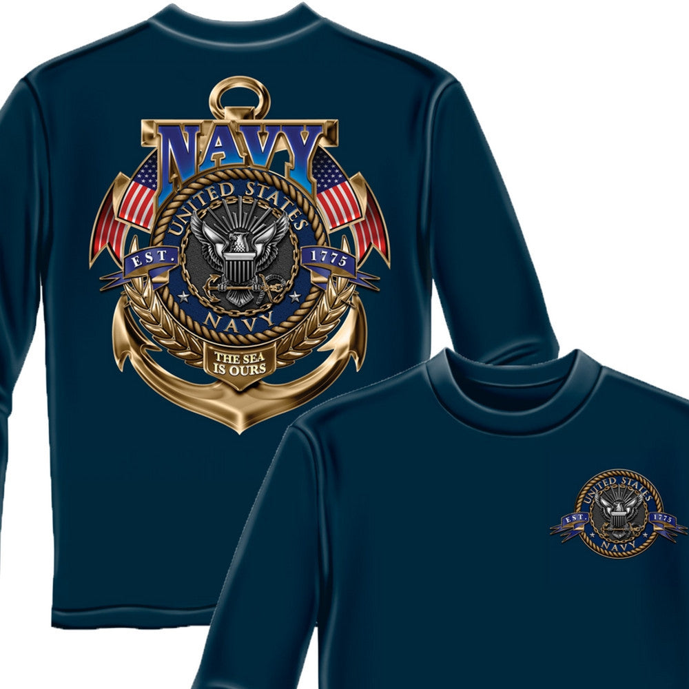 Navy The Sea Is Ours Long Sleeve Shirt-Military Republic