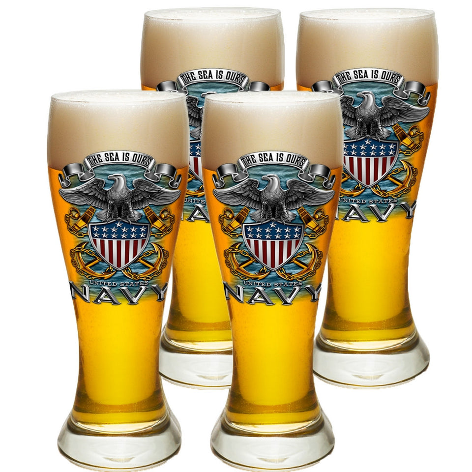 Navy The Sea Is Ours Pilsner Glasses Set-Military Republic