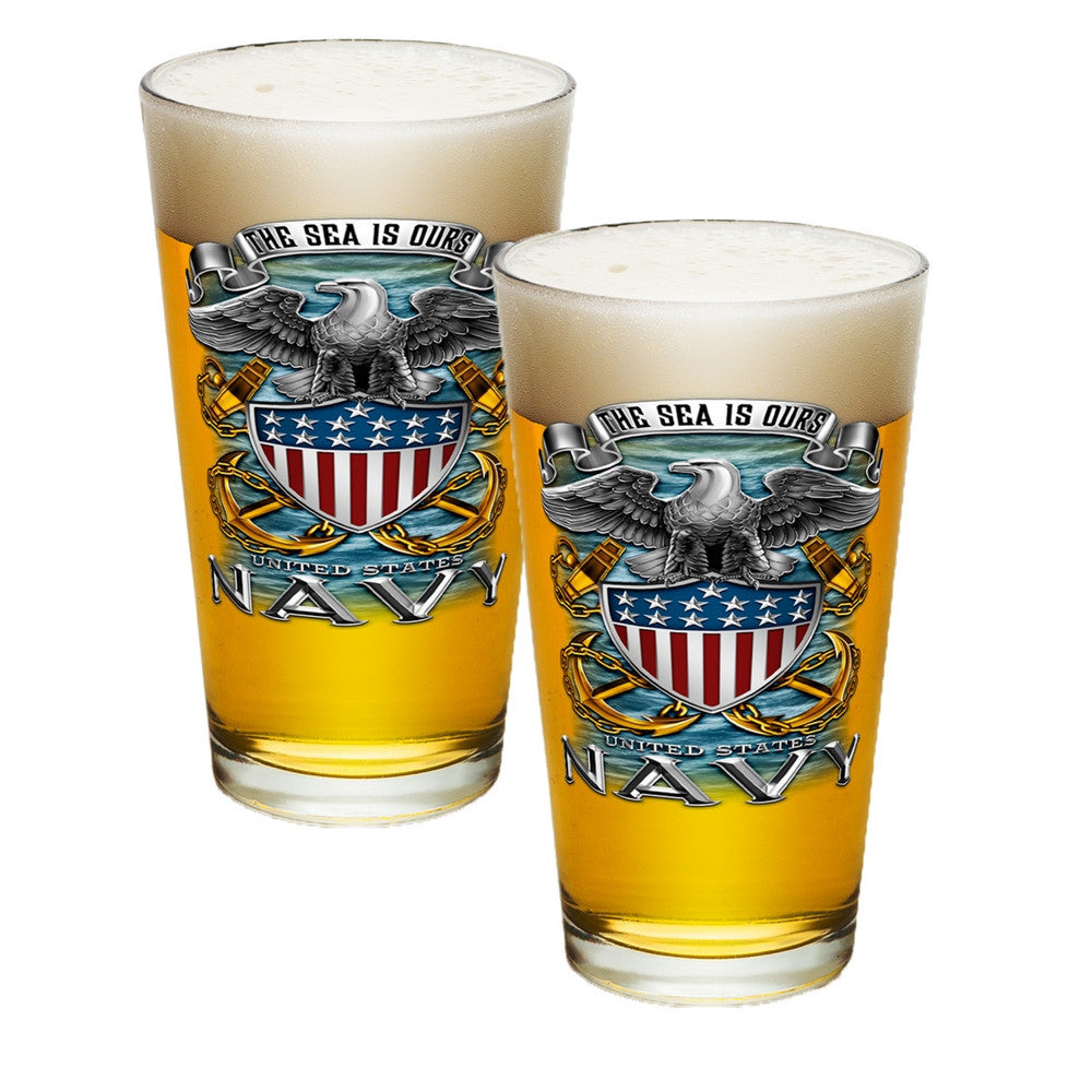 Navy The Sea Is Ours Pint Glasses-Military Republic