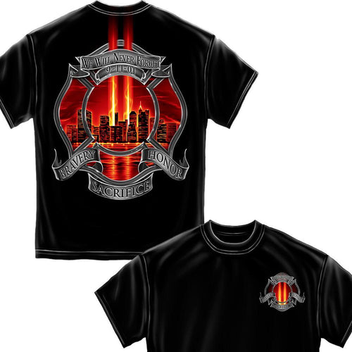 Never Forget 911 Firefighter T-Shirt-Military Republic