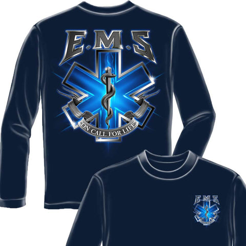 On Call For Life EMS Navy Long Sleeve Shirt-Military Republic