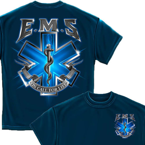 On Call For Life EMS Navy T-Shirt-Military Republic