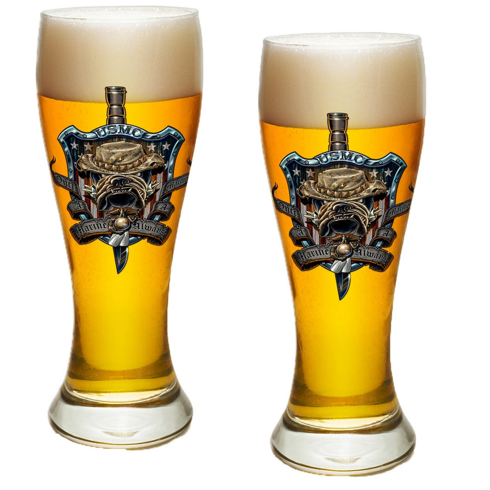 Once A Marine Always A Marine Pilsner Glasses Set-Military Republic