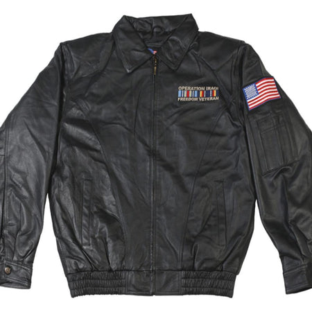 Operation Iraq Freedom Veteran Leather Jacket-Military Republic
