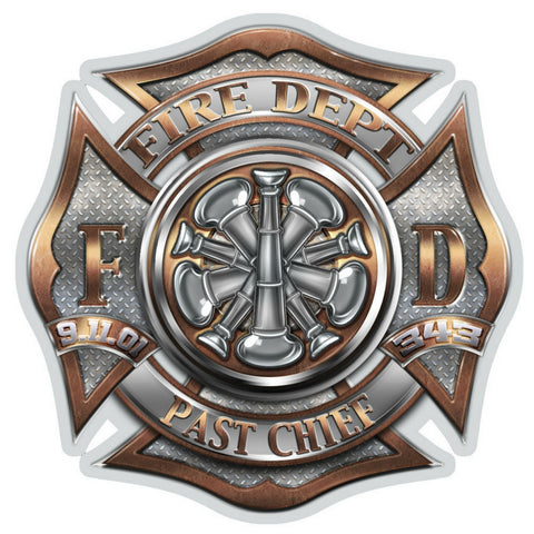 Past Chief Bugle Ranking Firefighter Decal-Military Republic