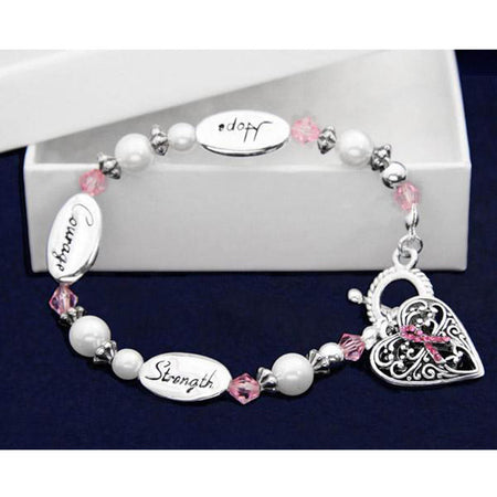 Pink Ribbon Beaded Hope Strength Courage Bracelet