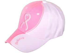 "Pink Ribbon Breast Cancer Awareness Baseball Cap with ""Believe"" Embroidery"