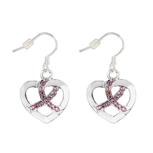 Pink Ribbon Crystal Heart Hanging Earrings