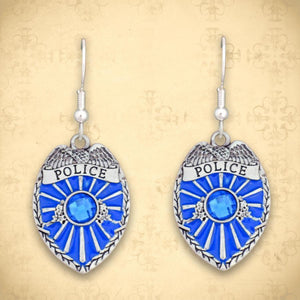 Police Badge Earrings-Military Republic