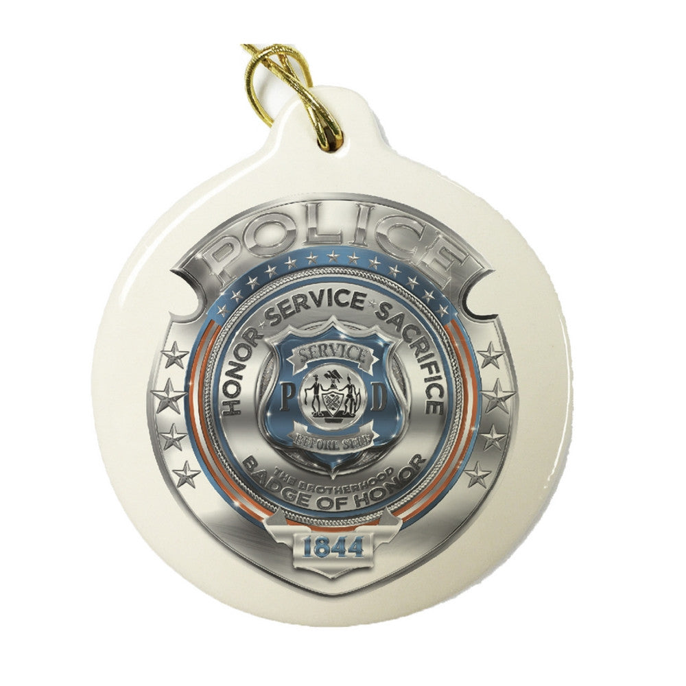 Police Chrome Badge Christmas Ornament-Military Republic