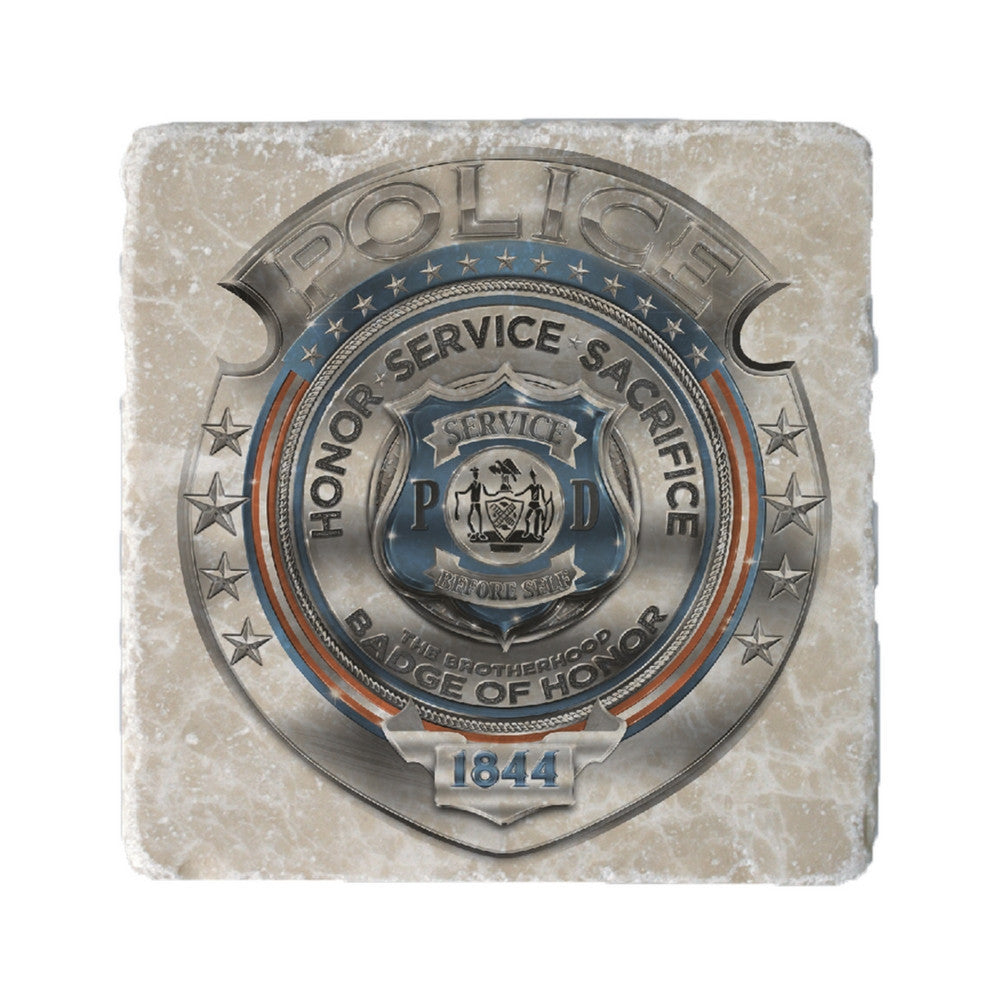 Police Chrome Badge Coaster-Military Republic