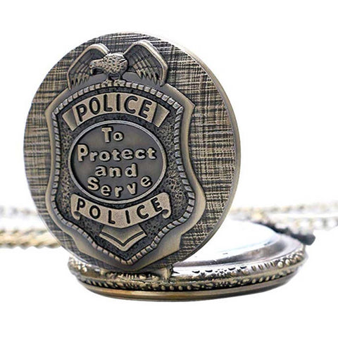 Police Quartz Analog Pocket Watch Vintage Style