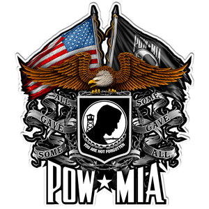 POW Double Flag Eagle Decal-Military Republic
