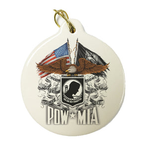 POW MIA Double Flag Christmas Ornament-Military Republic