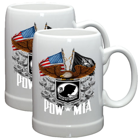 POW MIA Double Flag Stoneware Mug Set-Military Republic