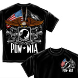 POW MIA Double Flag T Shirt-Military Republic