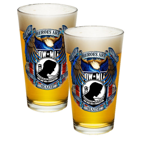 POW MIA Heroes Pint Glasses-Military Republic