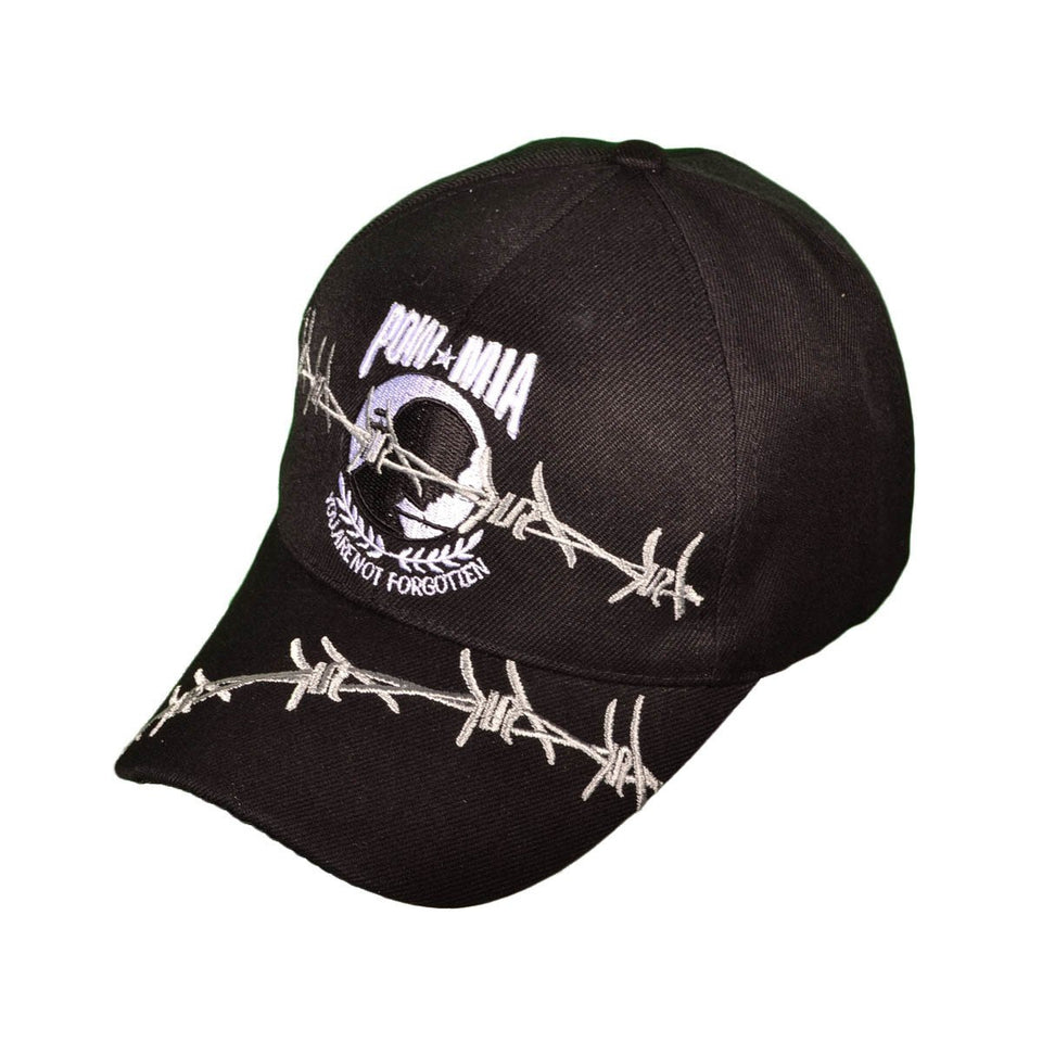 POW★MIA Barbed Wire Baseball Hat - Black
