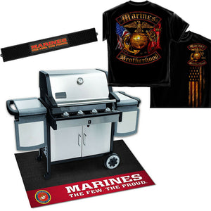 Proud Marines Grill Set - Grill Mat, Drinks Mat + Marines Brotherhood T-shirt-Military Republic