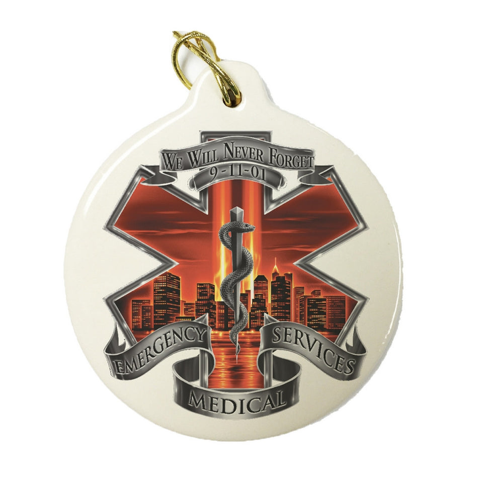 Red High Honor EMS Christmas Ornament-Military Republic