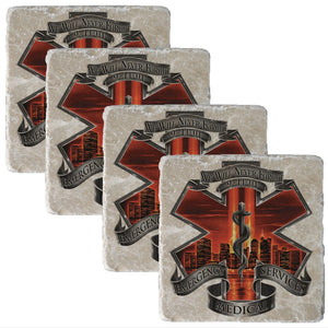 Red High Honor EMS Coaster-Military Republic