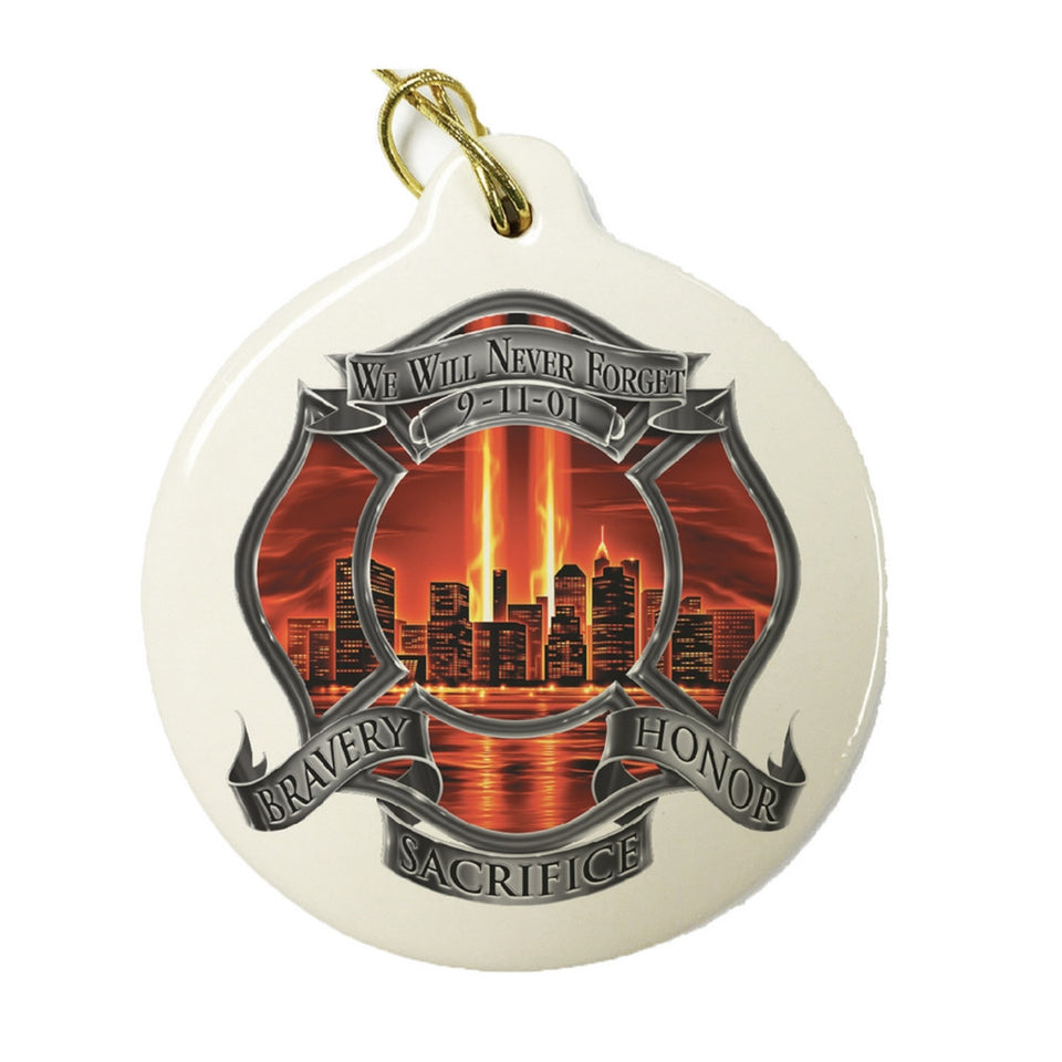 Red High Honor Firefighter Christmas Ornament-Military Republic