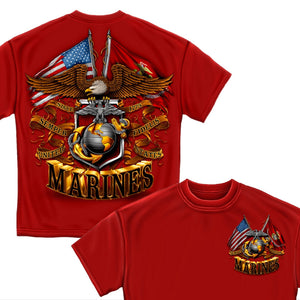 Red Marines Double Flag T-Shirt-Military Republic