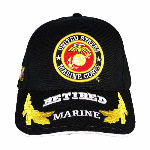United States Marines Corps Retired Black Cap with Egg