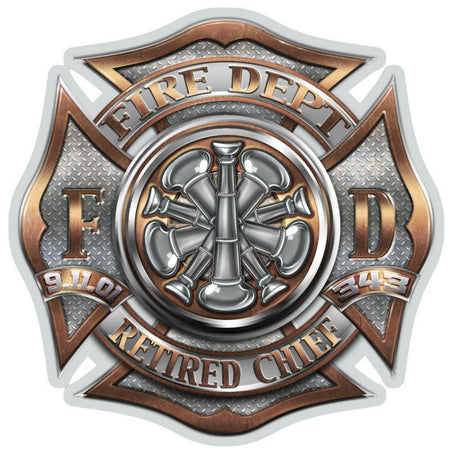 Retired Chief Bugle Ranking Firefighter Decal-Military Republic