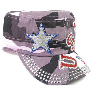 Rhinestone Cadet Cap USA Star - Pink Camo-Military Republic
